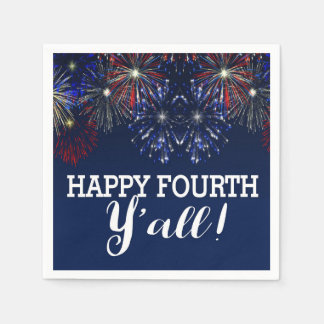 Fourth of July Party Summer Y'all Fireworks Paper Napkin