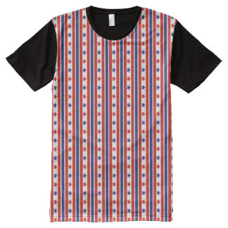 Fourth of July red, blue stripes and stars All-Over Print T-Shirt