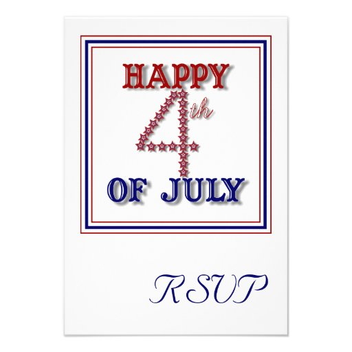 Fourth Of July Stars Patriotic RSVP Card