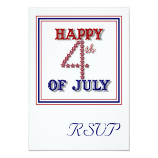 Fourth Of July Stars Patriotic RSVP Card 9 Cm X 13 Cm Invitation Card