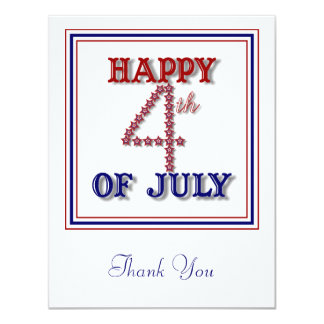 Fourth of July Stars Patriotic Thank You Card 11 Cm X 14 Cm Invitation Card
