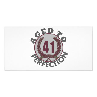 Fourty One and aged to Perfection Birthday Customized Photo Card