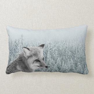 Fox Among Snowy Winter Trees Lumbar Cushion