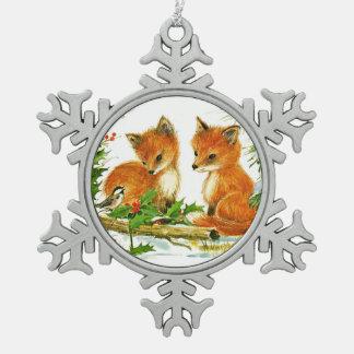 Fox and Bird Enjoy Christmas Snow Pewter Snowflake Decoration