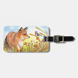 Fox And Bird In The Field Luggage Tag