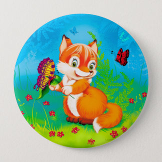 fox and butterfly 10 cm round badge