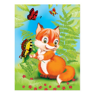 fox and butterfly postcard