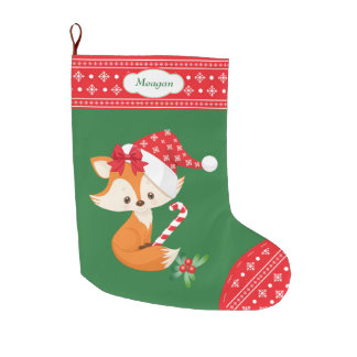 Fox and Candy Cane Large Christmas Stocking