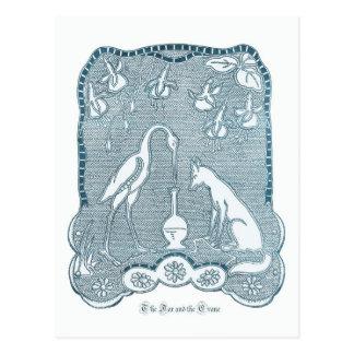 Fox and crane blue postcard