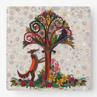 fox and crow square wall clock
