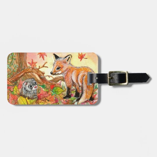 Fox and Ferret in Autumn Leaves Bag Tag