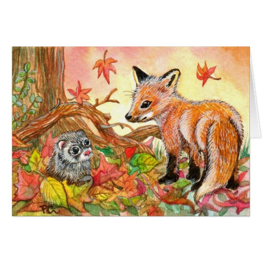 Fox and Ferret in Autumn Leaves Card