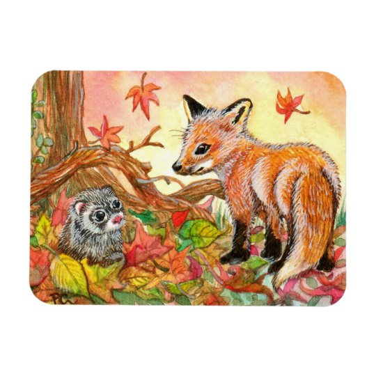 Fox and Ferret in Autumn Leaves Magnet