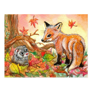 Fox and Ferret in Autumn Leaves Postcard