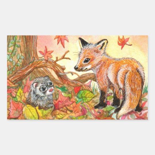 Fox and Ferret in Autumn Leaves Rectangular Sticker