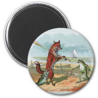 fox and frog vintage going fishing 6 cm round magnet