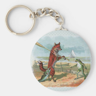 fox and frog vintage going fishing basic round button key ring