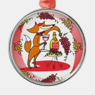 Fox and Grapes: Vin Rose Silver-Colored Round Decoration
