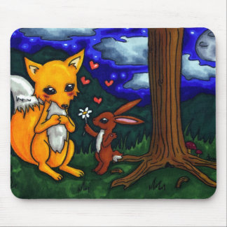 fox and hare love story mouse pad