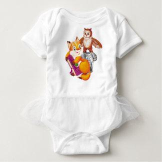 fox and owl baby bodysuit