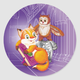 fox and owl classic round sticker