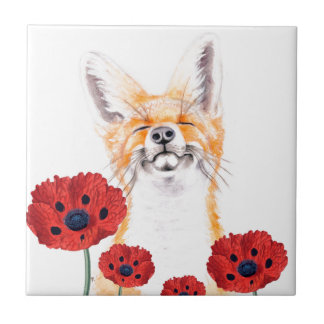 fox and poppies ceramic tile