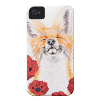 fox and poppies iPhone 4 cover