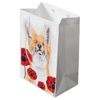 fox and poppies medium gift bag