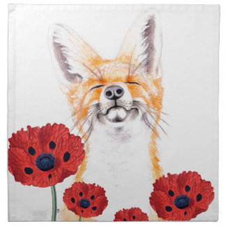 fox and poppies napkin