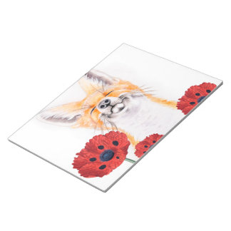 fox and poppies notepad