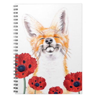 fox and poppies spiral notebook