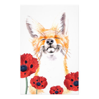 fox and poppies stationery