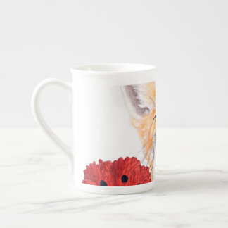 fox and poppies tea cup