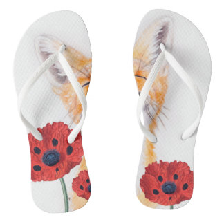 fox and poppies thongs