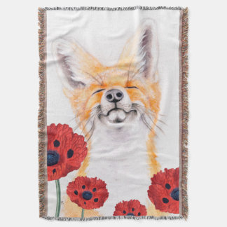 fox and poppies throw blanket