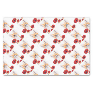 fox and poppies tissue paper
