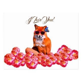 Fox and Roses  Funny Art Custom  Postcard