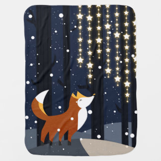 Fox and strings of star lights in the snowy forest baby blanket