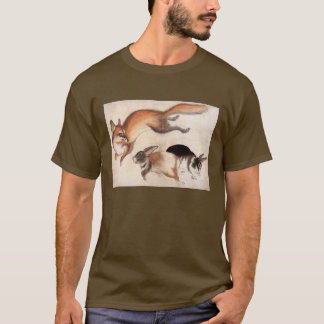 Fox and Two Hares, Vintage Japanese Painting T-Shirt