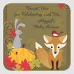 Fox and Woodland Animal Fall Baby Shower Thank You Square Sticker