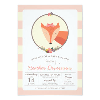 Fox Baby Girl Baby Shower Card
