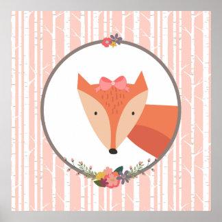 Fox Baby Girl Nursery Poster