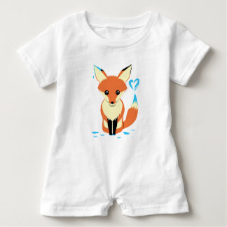 Fox Baby Painting Blue Heart With Tail Baby Bodysuit