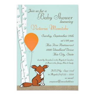 Fox Balloon and Birch Woodland Baby Shower 13 Cm X 18 Cm Invitation Card