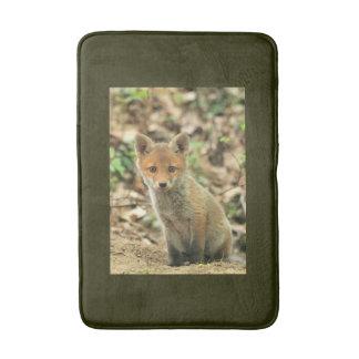 fox bath mat, foxy rug, fox cub bathroom decor bath mat