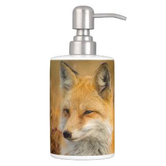fox bathroom set, fox toothbrush holder & soap