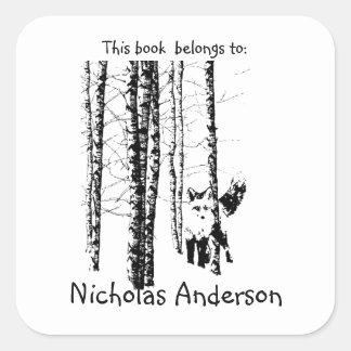 Fox Birch Tree Forest Animal Silhouette Nature Art Square Sticker