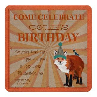 FOX & BIRD  Birthday Invitation