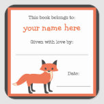 Fox book plate - Forest Animals library bookplate Square Sticker