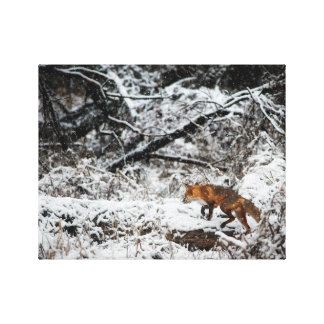 fox canvas art, fox in snow canvas print